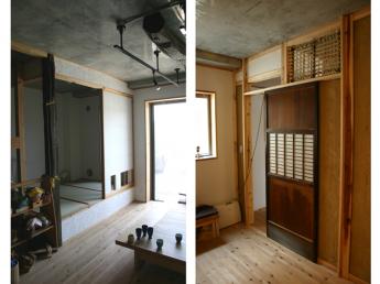 古材や古い建具を使用した室内