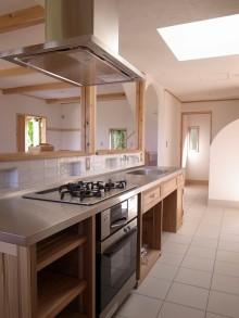 無垢杉 キッチン ステンレス天板